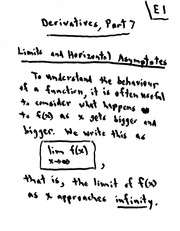 MATH 10101 Fall 2008 Limits and Horizontal Asymptotes Lecture Notes