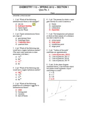 2012 CHEM112 Quiz1 Section1 Answers