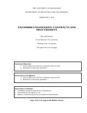 Exam ENGM90006 Eng Contracts and procurement 2014