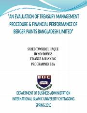 AN EVALUATION OF TREASURY MANAGEMENT PROCEDURE & FINANCIAL PERFORMANCE OF BERGER PAINTS BANGLADESH L