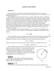 PHY 122 Uniform Circular Motion(2) pdf - Uniform Circular