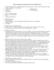 English 1 Fall 2012 Guide to Writing and Researching for English 1 Papers