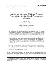 Guidelines for Cross-Cultural Assessor Training in Multicultural Assessment...