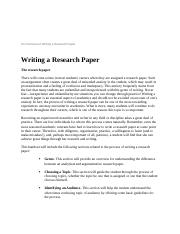 An Overview of Writing a Research Paper