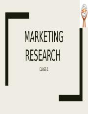 Class 1 Marketing Research