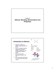 Chapter 5-Alkenes- Bonding, Nomenclature and Properties