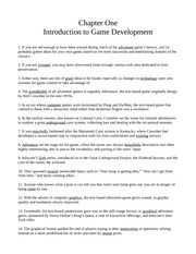 Chapter One - Introduction to Game Development