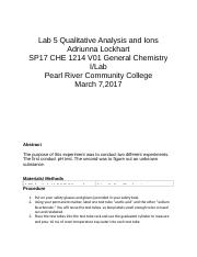 Lab 5 Qualitative Analysis and Ions