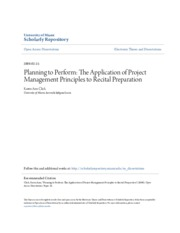 Planning to Perform- The Application of Project Management Princi