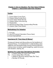 Financial Accounting Lesson 4 and 5 class notes, Time Value of Money and Discounted Cash Flow Valuat