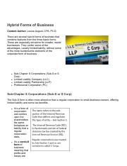 FIN 315 WI2017 VT61_ LECTURE 5_ Hybrid Forms of Business