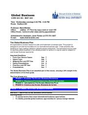 Global Business Plan CORE 3810 BINT 3001 NC AD Fall 2016