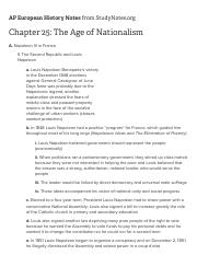 Chapter 25: The Age of Nationalism - AP European History Chapter Outlines - Study Notes
