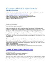 Discussion # 12-Outlook for Intercultural Communication.docx