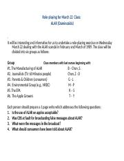 Alar Role Playing Exercise (Sect 1) -1