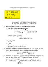 Lecture 6 Notes Calculus of Variations Applied to Optimization