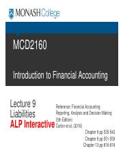 i ALP MCD2160 Trim2 2016 Blanks Lecture 9 Liabilities