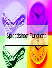 [Spring 2014] Spreadsheet Functions
