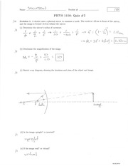 PHYS 1150 Summer 2014 Quiz 2 Solutions