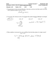 Solutions In Class Exercise 7 09-105 S 15