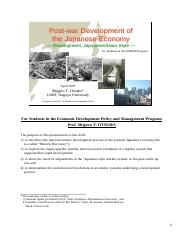 Postwar Development of the Japanese Economy (Prof