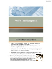 Lecture 5 Time Management for Project Management for Chemical Engineering