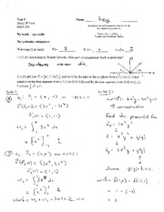 Test 3 Solution Spring 2014 on Multivariable Calculus