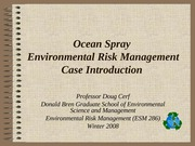 Ocean Spray Environmental Risk Management Introduction