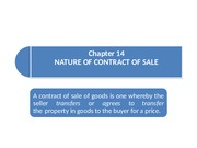Chapter 14_Nature of Contract of Sale