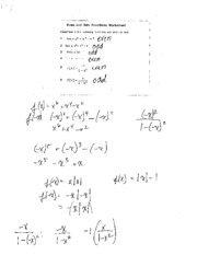 Even and Odd Function Worksheet Answers