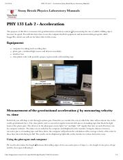 PHY 133 Lab 2 - Acceleration [Stony Brook Physics Laboratory Manuals]