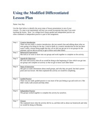MD Lesson Plan Chart