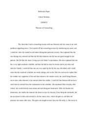 Reflection Paper cheryl counselling