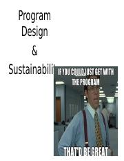 Program Design & Sustainability (1)