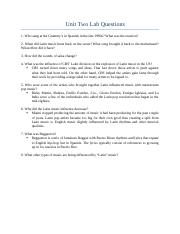 Unit Two Lab Questions