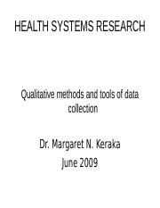 Lesson 7 Qualitative methods and tools of data collection 17th june 2009