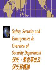 Safety, Security & Emergency
