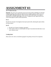 Private Security Assignment 3