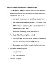 The Importance of Marketing Planning Notes