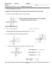 Precalculus 2015 Test 2  Chapter 1.6-1.10 Solutions