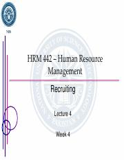 Lecture 4 - Recruiting