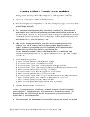 Economic Problem Worksheet