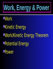 Physics Powerpoint Work, Energy & Power