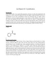 Lab Report 2 Crystallization.docx