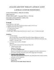 Tugas 2 Auditing I Pdf Analisis Review Terkait Laporan Audit Laporan Auditor Independen Nama Mahasiswa Shelen Novera Nim 030000793 Dosen Pengampu Course Hero