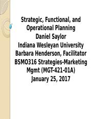 5.3 Strategic, Functional, and Operational Planning