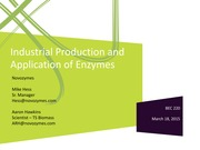 BEC 220 Spring 2015 Lecture 9 Industrial Production and Applications of Enzymes (Dr. Mike Hess  Dr.
