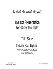 BPW - Ten Slides Investor Pitch Template.ppt