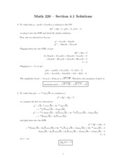 MATH 220 - Section 4.1 Verifying Solutions Problems and Solutions