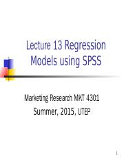 Lecture 13 Regression analysis (SPSS Guideline)